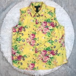 Yellow Floral Ralph Lauren Button Up Tank